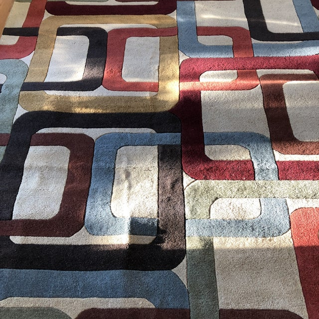 Mid-Century Modern Mid-Century Inspired Hand Tufted Surya Wool Rug - 8′ × 11′ For Sale - Image 3 of 8