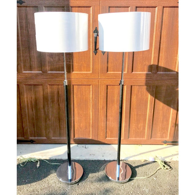 Ralph lauren chrome leather floor lamps a pair chairish ralph lauren chrome leather floor lamps a pair image 11 of 11 aloadofball Image collections