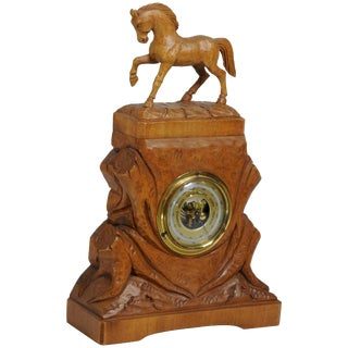 20th Century German Hand-Carved Beechwood Equine Barometer For Sale