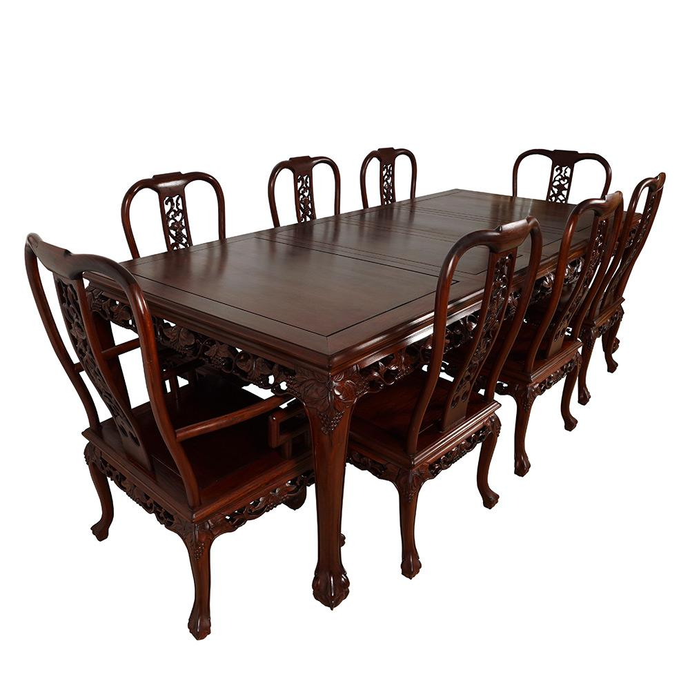Look At This Set Of Gorgeous Chinese Antique Rosewood Dining Table With 8  Matching Chairs.