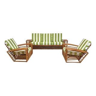 Outdoor Bamboo Patio Set in Stripe Sumbrella - 3 Pieces For Sale