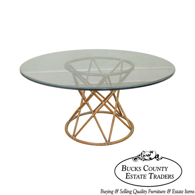 """McGuire of San Francisco 60"""" Round Glass Top Rattan Bamboo Base Dining Table For Sale - Image 12 of 12"""