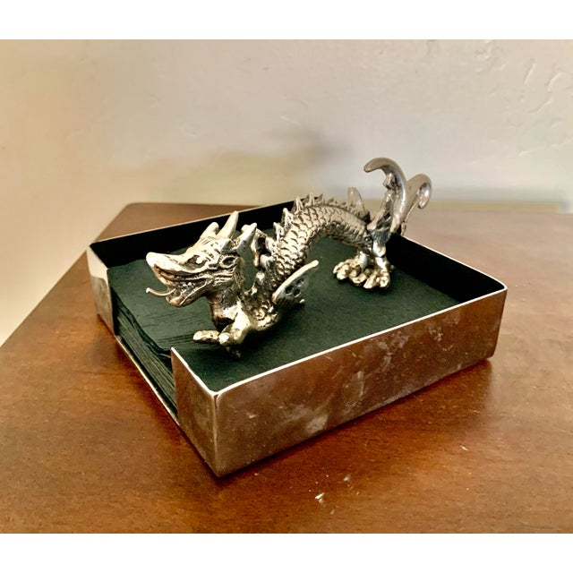 Chinoiserie Natori Chinoiserie Dragon Stainless Steel Cocktail Napkin Holder For Sale - Image 3 of 7