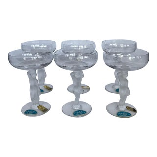 Vintage French Castle Art Crystal Champagne Coupes With Nude Figure Stems - Set of 6 For Sale