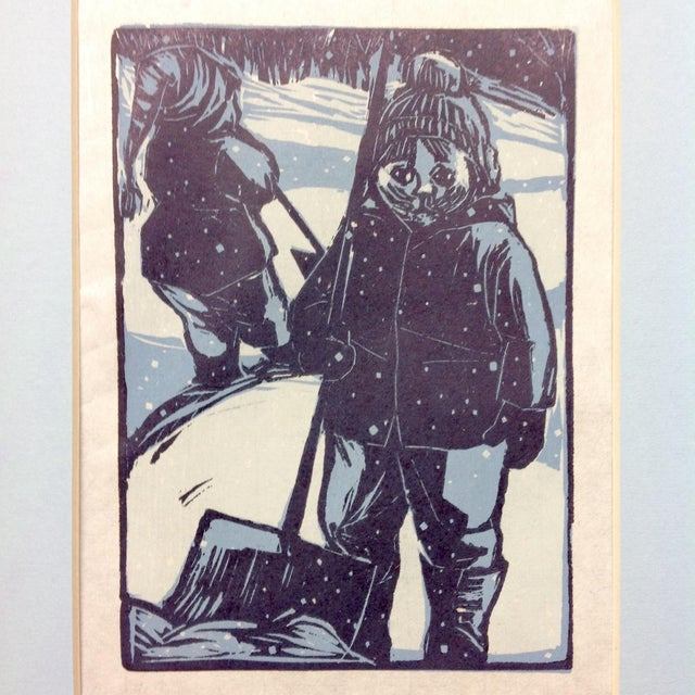 Mid-Century Modern Scandinavian Winter Land Wood Cut For Sale - Image 3 of 3