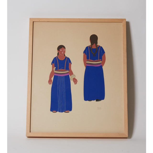 1940s Mexican Framed Costume Silk Screen by Carlos Merida For Sale - Image 4 of 5