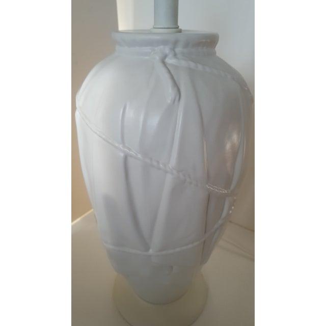 Vintage Frederick Cooper Dorothy Draper Style White Ceramic Draped Lamp For Sale - Image 9 of 9
