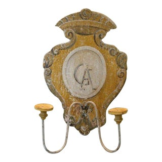 Tuscan Hand Painted 2 Lite Wall Sconces From Siena Italy Featuring a Monogrammed Medallion - Pair