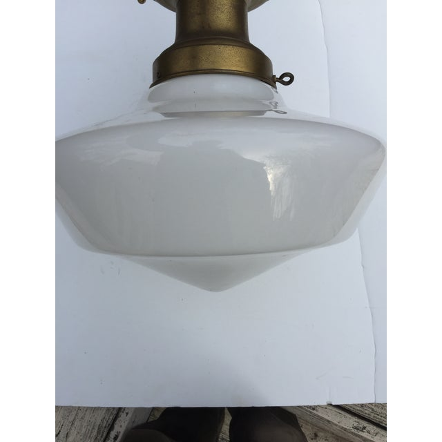1920s Vintage Brass Flushmount Ceiling Fixture For Sale - Image 5 of 10