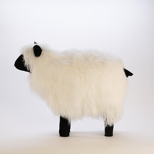 Medium Lalanne Style Tibetan Lamb Sheep in White For Sale - Image 4 of 7
