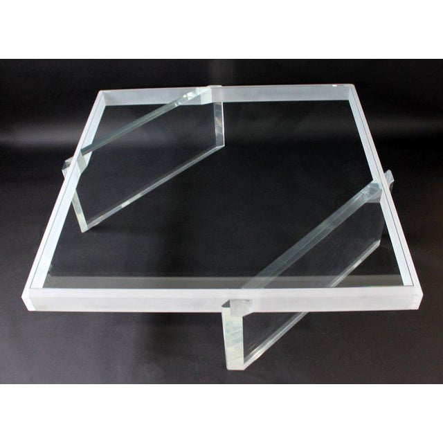 Charles Hollis Jones Mid-Century Modern Large Lucite Glass Coffee Table For Sale - Image 4 of 9