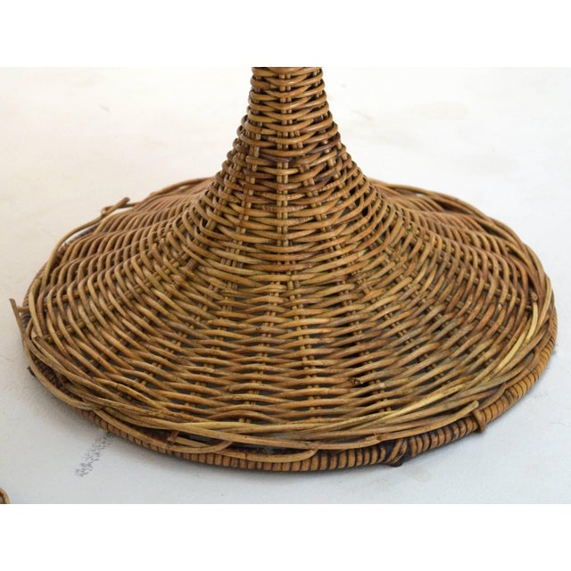 1950s 1950s Wicker Rattan Dinette with Swivel Seats - 3 Pieces For Sale - Image 5 of 9