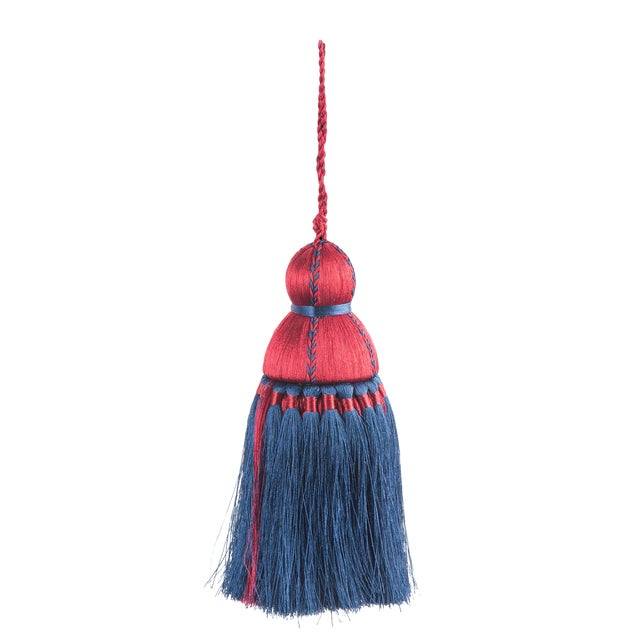 Pyar & Co. Trellis Home Tassel, Red & Navy Blue, Medium For Sale