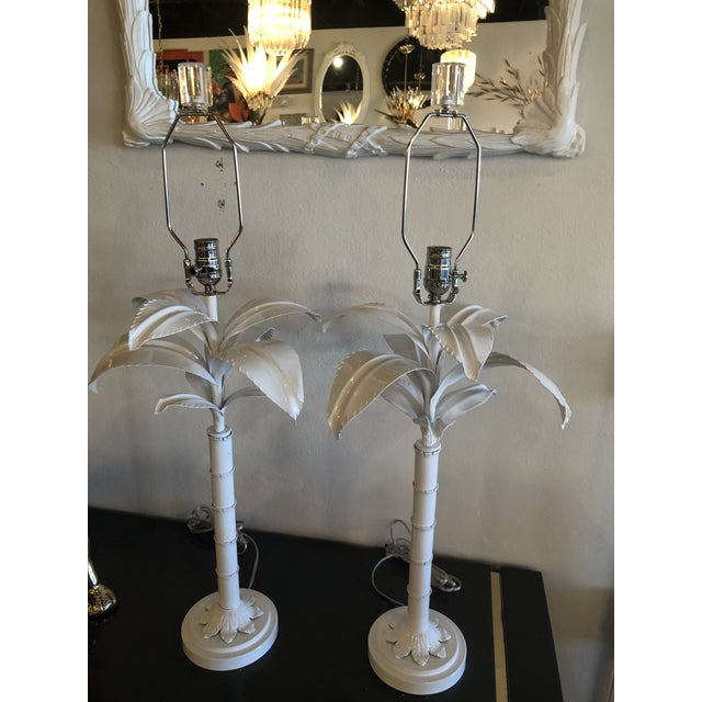 Vintage Hollywood Regency White Lacquered Chrome Lucite Palm Tree Table Lamps - A Pair For Sale - Image 12 of 13