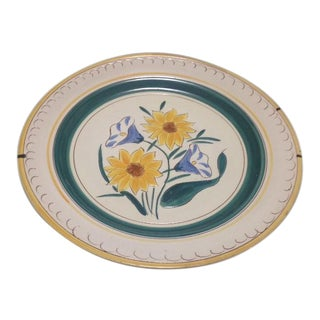 Stangl Garden Flower Chop Plate & Wire Plate Hanger For Sale