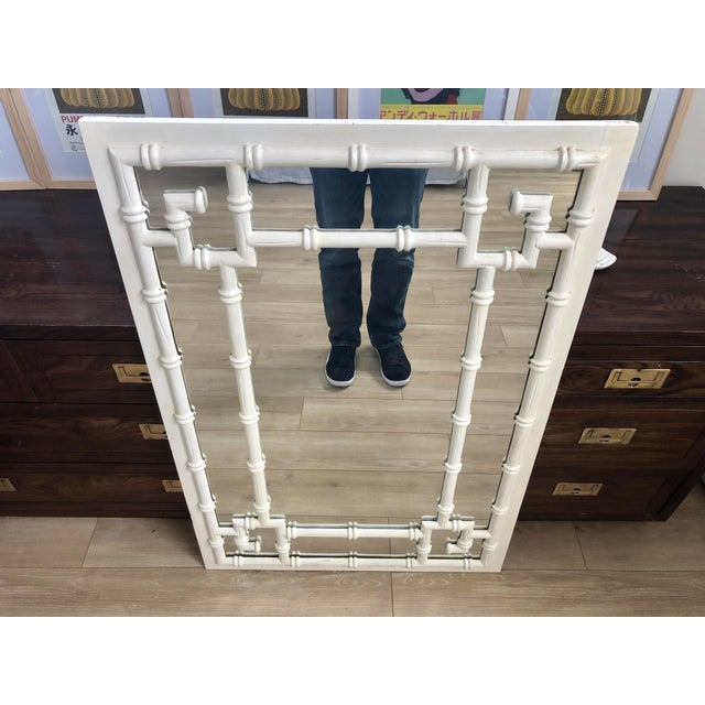 Vintage White Faux Bamboo Greek Key Wall Mirror For Sale - Image 4 of 9