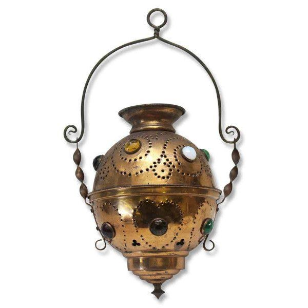 Vintage Brass Jeweled Incense Burner - Image 2 of 11