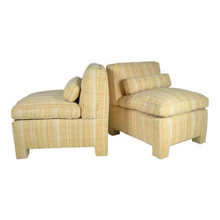 Pair of Modern Upholstered Slipper Chairs, circa 1960s For Sale
