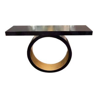 Custom Black Parchment Circle Console with Gold Leaf Interior For Sale