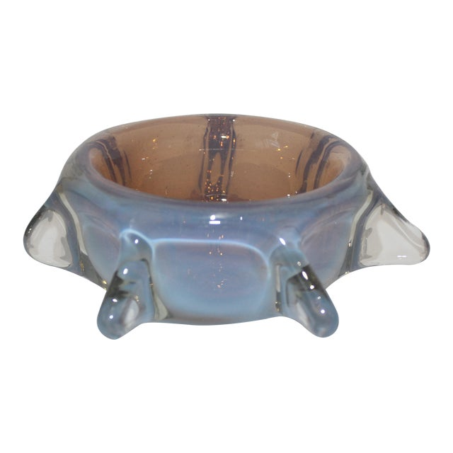 Murano Opaline Pinched Glass Bowl in Blue and Amber Tones Mid-Century Modern Italian 1960s For Sale