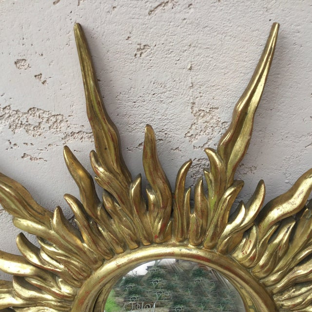 French French Gilded Wood Convex Sunburst Mirror For Sale - Image 3 of 7