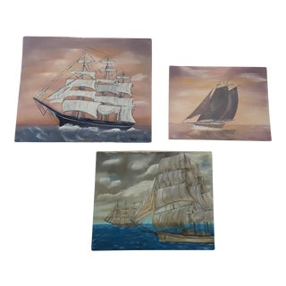 Vintage Boat Seascape Oil Paintings - Set of 3 For Sale