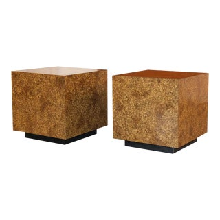 Mid Century Faux Tortoise Shell Cube Tables For Sale