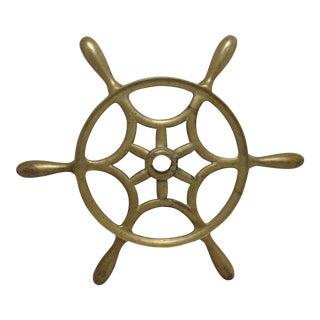 1900s Nautical Brass Ships Wheel For Sale