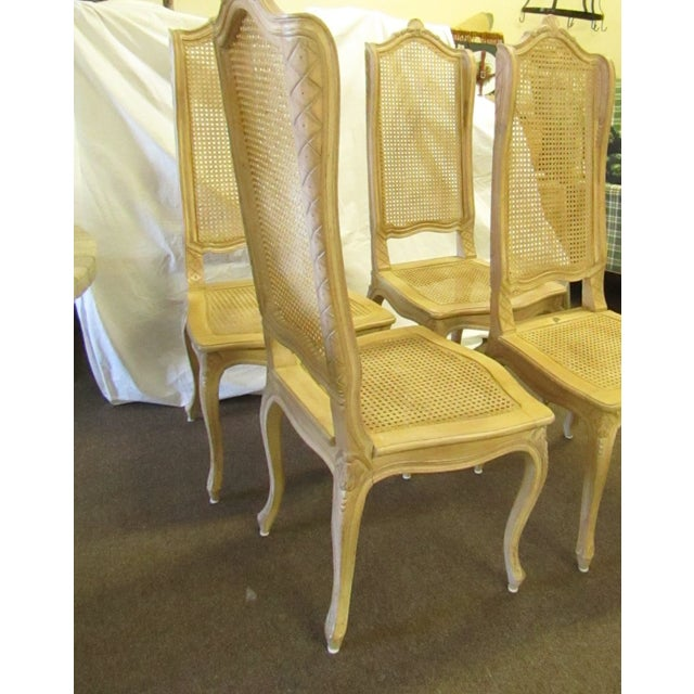 Baker Furniture Company Baker Tall Back Cane & Carved Wood Dining Chairs - Set of 4 For Sale - Image 4 of 8