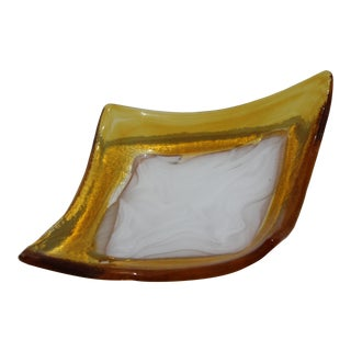Mid-Century La Murrina Signed Murano Dish Bowl in Amber & White For Sale