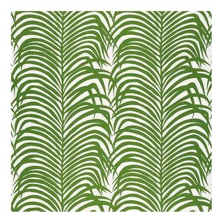 Sample, Schumacher Zebra Palm Fabric in Green For Sale