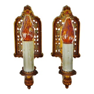 Art Nouveau Gold Gilt Cast Metal Wall Sconces - A Pair
