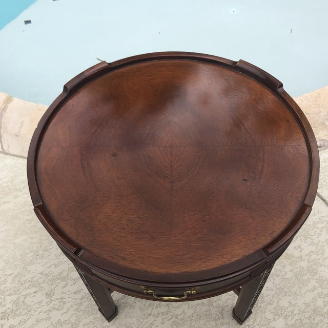 The School of Paris 1950s Arts and Crafts Baker Furniture Round Chippendale Style Side Table For Sale - Image 3 of 13