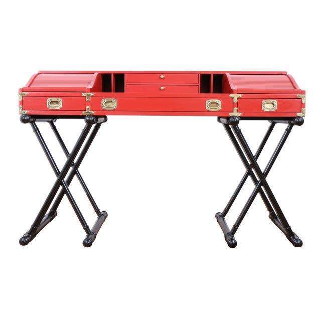 Red Hollywood Regency Campaign Executive Desk - Image 1 of 6