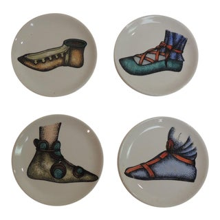 Set of 4 Ceramic Hand Painted Fornasetti Style Coasters