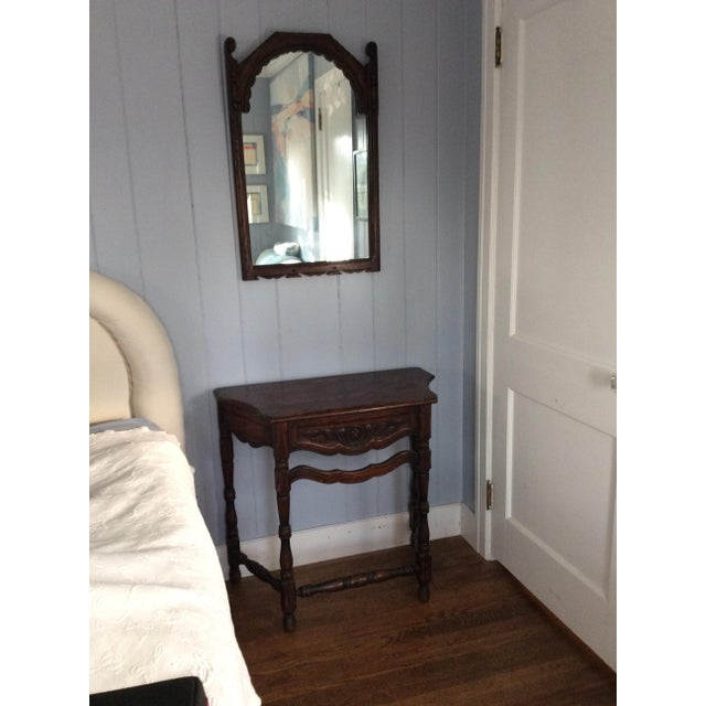 Early 19th Century Rustic Dark Oak Console and Mirror - 2 Pieces For Sale In Greenville, SC - Image 6 of 13