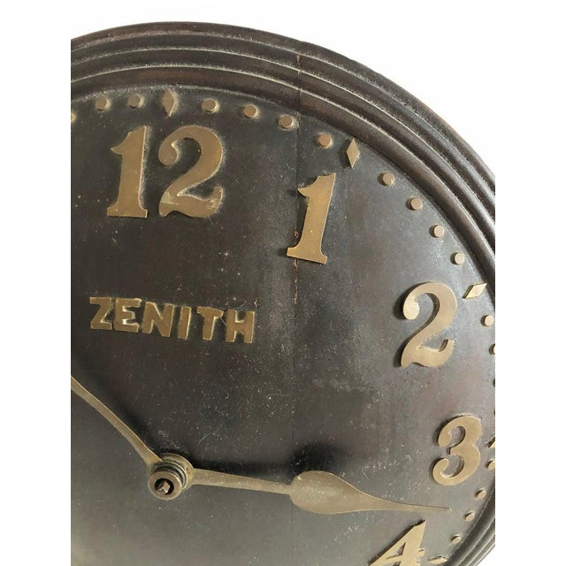 Brown 1930s Art Deco Zenith Wall Clock Decor For Sale - Image 8 of 12