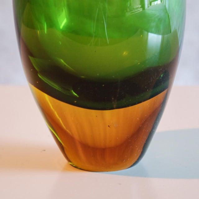 Seguso Vetri d'Arte Circa 1950 Flavio Poli Murano Green & Yellow Glass Vase for Seguso Vetri d'Arte For Sale - Image 4 of 5