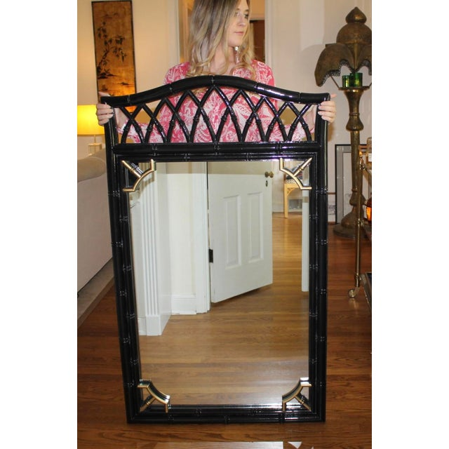 Asian Vintage Mid-Century Thomasville Allegro Chinoiserie Bamboo Chinese Chippendale Mirror For Sale - Image 3 of 9