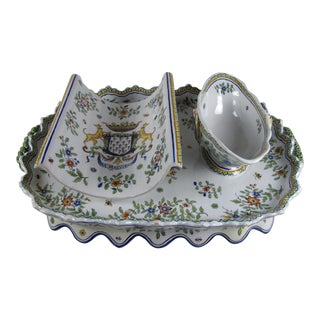 Desvres Fourmaintraux French Faïence Asparagus Server For Sale