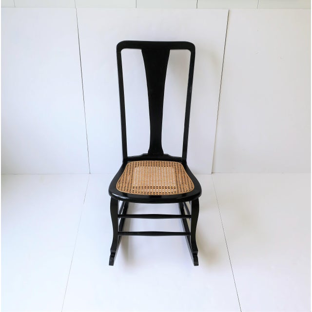 Vintage Mid Century Black Lacquer and Cane Rocking Chair For Sale - Image 12 of 13