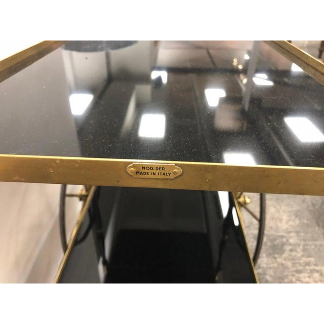 Morex Mid-Century Italian Brass Bar Cart by Morex For Sale - Image 4 of 7