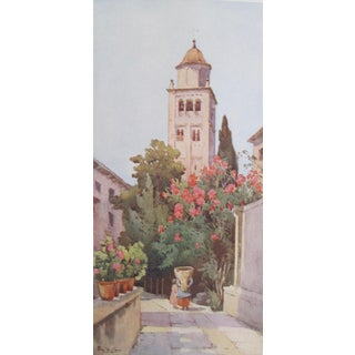 1905 Original Italian Print - Italian Travel Colour Plate - the Campanile of San Giulio, Lago d'Orta For Sale