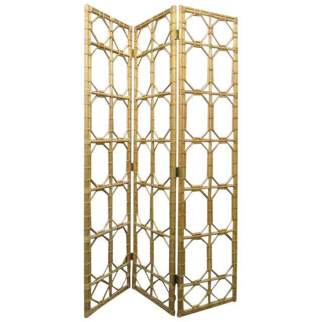 Wood 1960s 3 Panel Rattan & Mirror Floor Screen Room Divider For Sale - Image 7 of 8