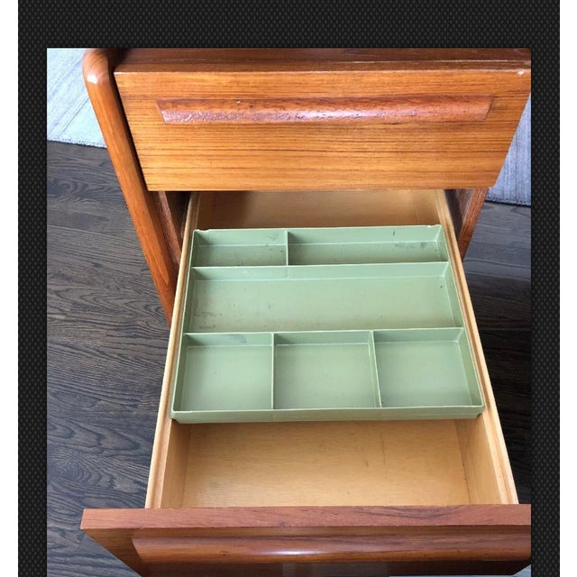 Teak Danflex Systems Mid-Century Floating Top Teak Desk For Sale - Image 7 of 11