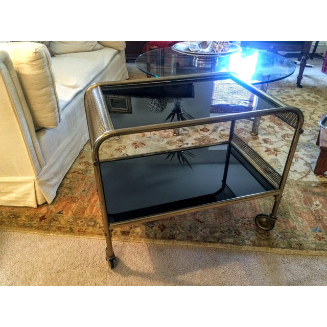 Mid-Century Brass & Black Glass Bar Cart - Image 10 of 11