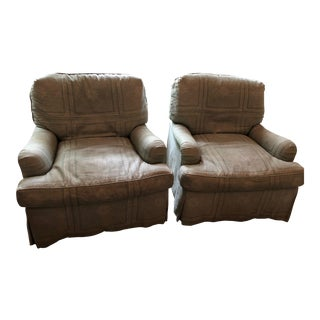 Traditional Upholstered Swivel Chairs - A Pair For Sale