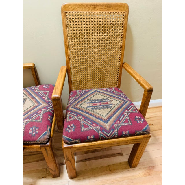 1970s Mid-Century Lou Hodges Style Tall Cane Back Chairs- A Pair For Sale - Image 5 of 9