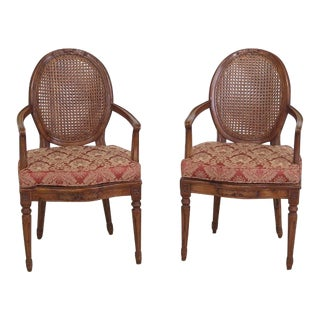 French Louis XV Style Cane Back Arm Chairs - a Pair For Sale