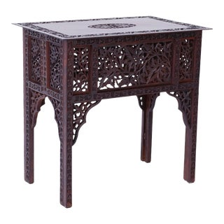 Anglo-Indian Carved Bombay Black Wood Side Table For Sale